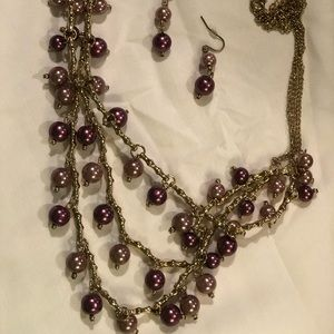 Pink ,cherry red & gold necklace & earrings